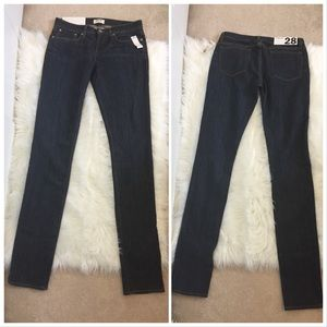 Helmet Lang NY Dark Wash Low Rise Skinny Jeans